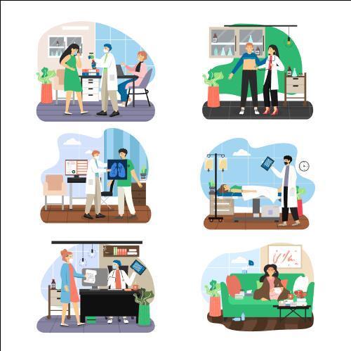 Health check and happy life cartoon vector