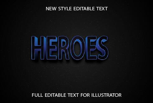 Heroes blue 3d text effect vector
