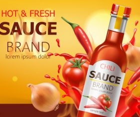 Hot fresh sauce vector