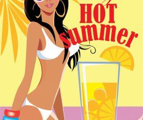 Hot summer swimsuit girl vector