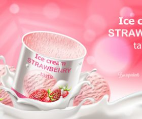 Ice cream strawberry taste vector