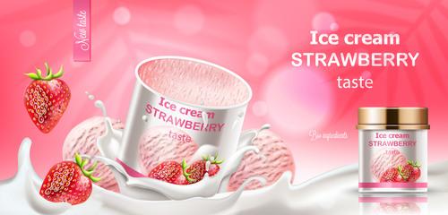 Ice cream strawberry taste vector