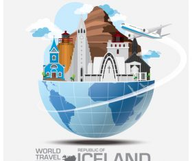 Iceland famous tourist attractions concept vector