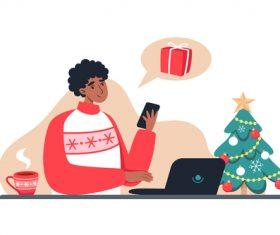Illustration vector of boy shopping online