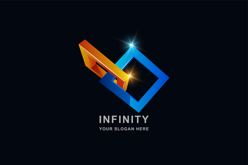 Infinity 3d square pattern design vector