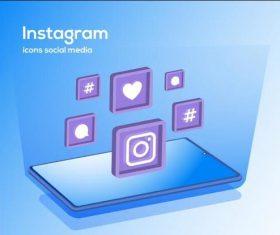 Instagram icons social media vector