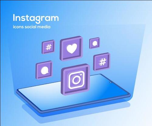 Instagram icons social media vector
