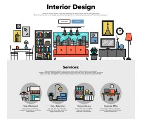 Interior design flat graphic concept vector