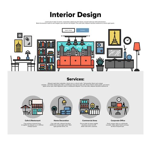 Interior design flat graphic concept vector