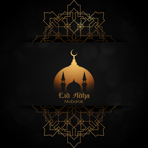 Irregular pattern decoration Eid mubarak greeting card vector