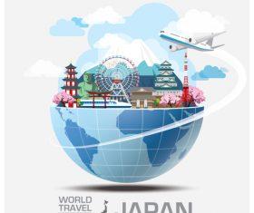 Japan famous tourist attractions concept vector