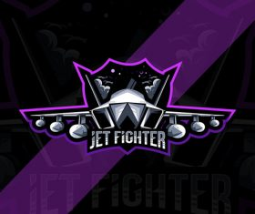 Jet fighter esport logo vector