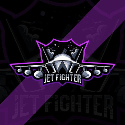 Jet fighter esport logo vector