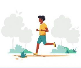 Jogging man cartoon illustration vector