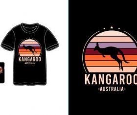 Kangaroo T-shirt merchandise print vector