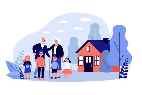 Kids and old people cartoon illustration vector