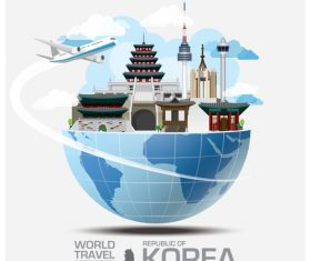Korea famous tourist attractions concept vector