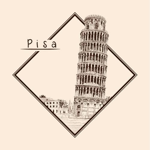 Leaning Tower of Pisa architectural sketch vector