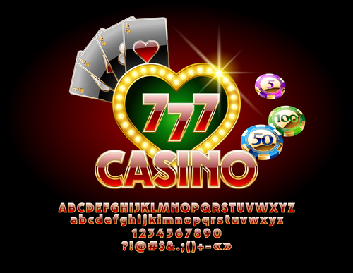 Letters numbers casino elements vector