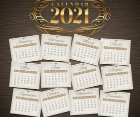 Light sticker pattern 2021 calendar vector