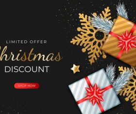 Limited offer Christmas sale flyer vector