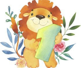 Lion watercolor illustration vector