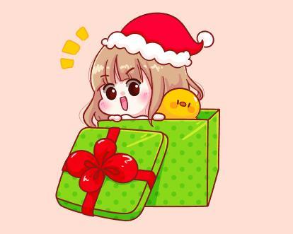 Little girl hiding in gift box vector