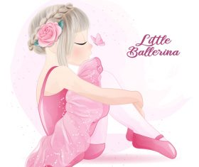 Little girl in ballet costume with butterfly watercolor illustration vector