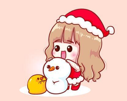 Little girl making a snowman vector