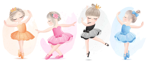 Little girl performing ballet watercolor illustration vector