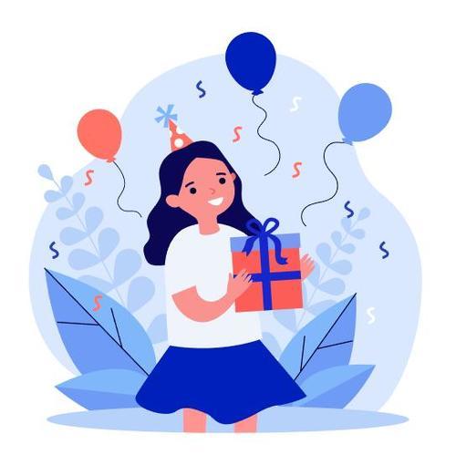 Little girl receiving birthday gift cartoon illustration vector