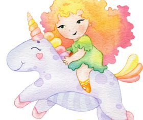 Little girl riding a unicorn watercolor illustration vector