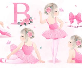 Little girl studying ballet watercolor illustration vector