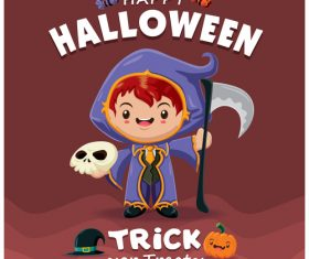 Little wizard halloween poster design vector