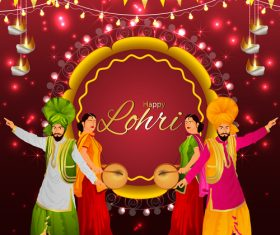 Lohri Indian festival decorative illustration vector