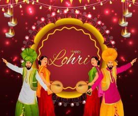 Lohri Indian festival decorative illustration vector