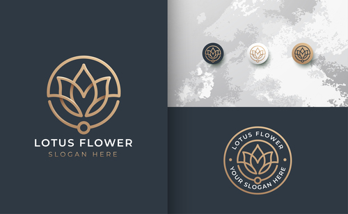 Lotus flower cover logo design vector