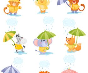Love rainy day animal cartoon vector