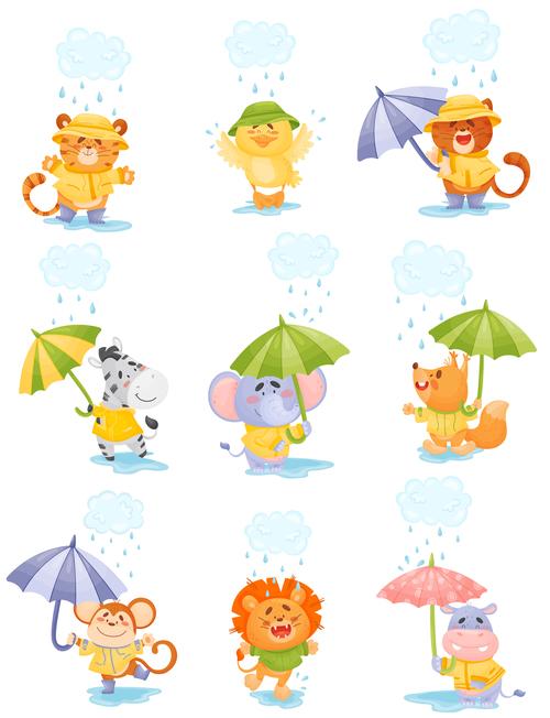 Love rainy day animal cartoon vector