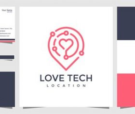Love tech logo design vector