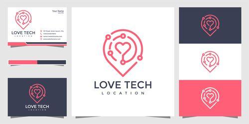 Love tech logo design vector