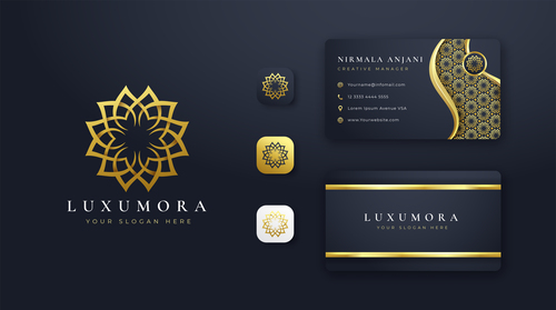 Luxury black cover company business card vector