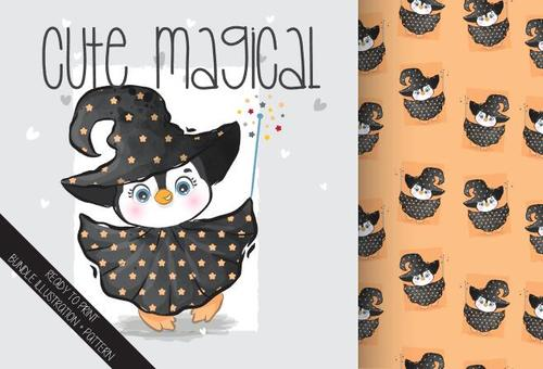 Magical penguin cartoon seamless background vector