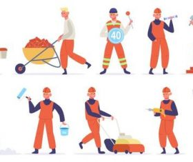 Maintenance worker cartoon illustration vector