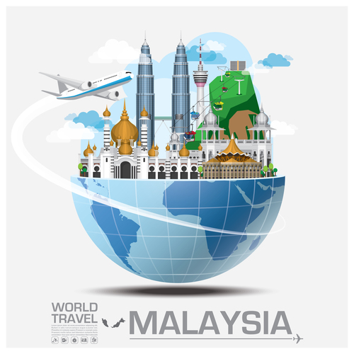 Malaysia famous tourist attractions concept vector