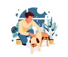 Man and pet dog vector