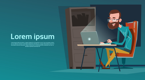 Man surfing the internet cartoon vector