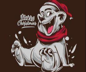 Merry Christmas Bulldog Icon Vector