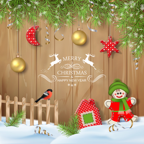 Merry Christmas exquisite greeting card vector