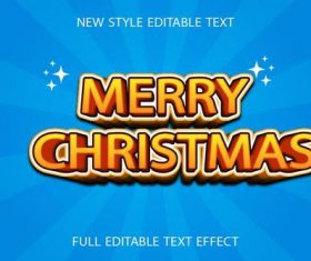 Merry christmas 3d text effect vector